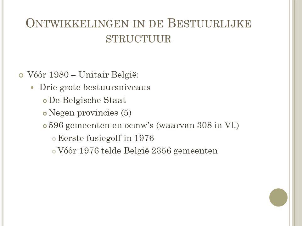O NTWIKKELINGEN IN DE B ESTUURLIJKE STRUCTUUR Vóór 1980 – Unitair België: Drie grote bestuursniveaus De Belgische Staat Negen provincies (5) 596 gemee