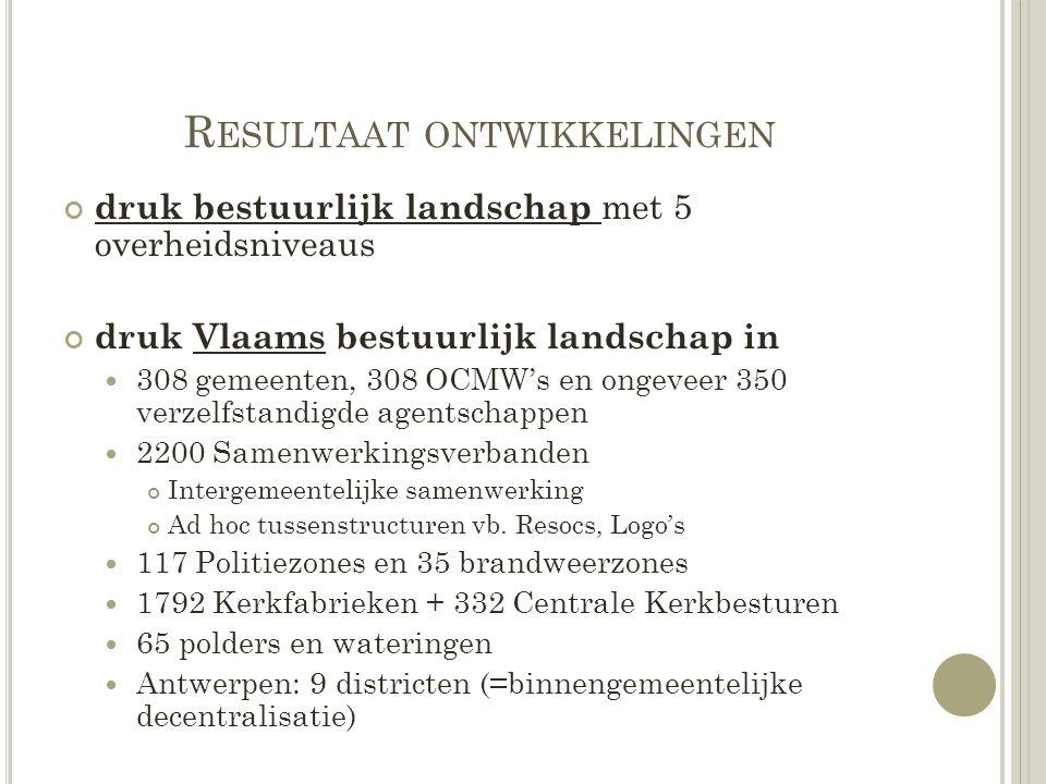 R ESULTAAT ONTWIKKELINGEN druk bestuurlijk landschap met 5 overheidsniveaus druk Vlaams bestuurlijk landschap in 308 gemeenten, 308 OCMW's en ongeveer