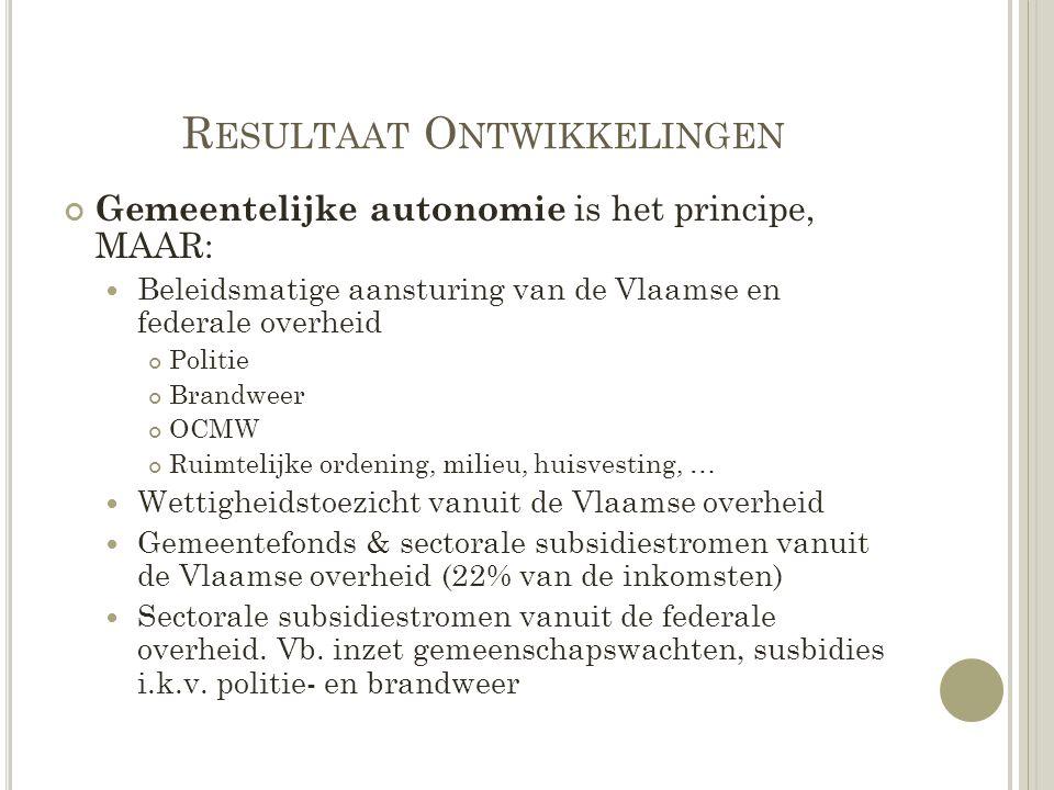 R ESULTAAT O NTWIKKELINGEN Gemeentelijke autonomie is het principe, MAAR: Beleidsmatige aansturing van de Vlaamse en federale overheid Politie Brandwe