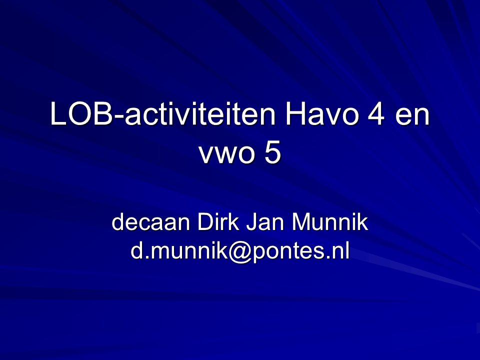 LOB-activiteiten Havo 4 en vwo 5 decaan Dirk Jan Munnik d.munnik@pontes.nl