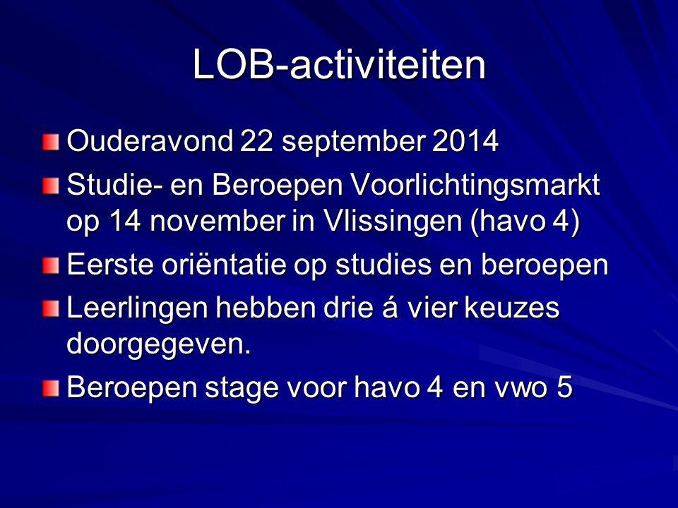 LOB-activiteiten Ouderavond 22 september 2014 Studie- en Beroepen Voorlichtingsmarkt op 14 november in Vlissingen (havo 4) Eerste oriëntatie op studie