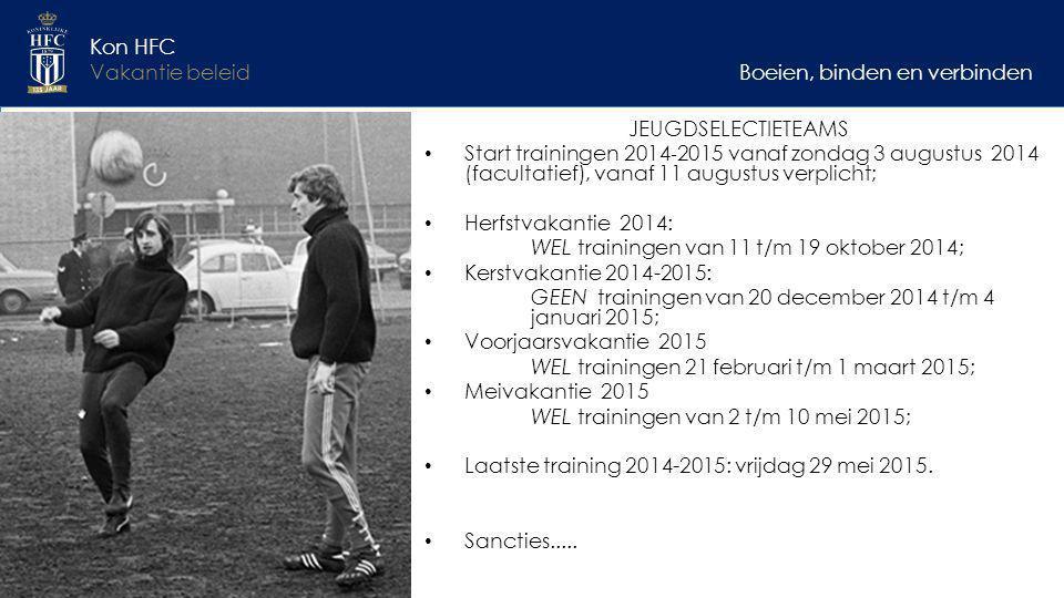 Boeien, binden en verbinden Kon HFC Vakantie beleid JEUGDSELECTIETEAMS Start trainingen 2014 ‐ 2015 vanaf zondag 3 augustus 2014 (facultatief), vanaf