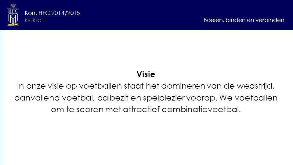 """""""Winnaars hebben een plan verliezers excuses"""" Zonder tegenslag geen overwinning Boeien, binden en verbinden Kon. HFC 2014/2015 kick-off Visie In onze"""