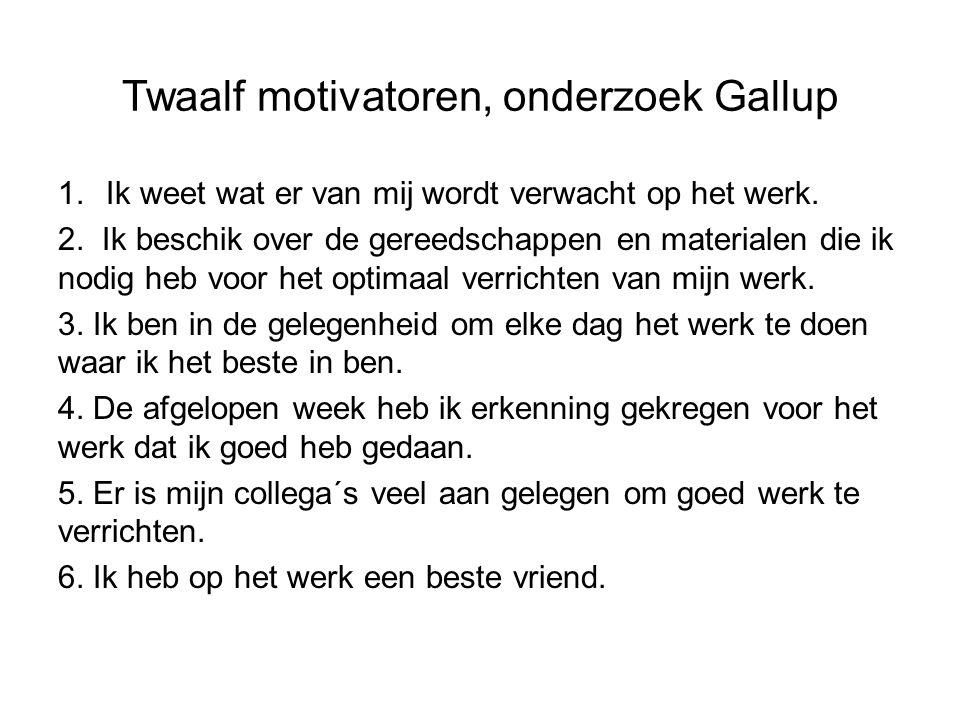 Twaalf motivatoren, onderzoek Gallup 1.Ik weet wat er van mij wordt verwacht op het werk. 2. Ik beschik over de gereedschappen en materialen die ik no