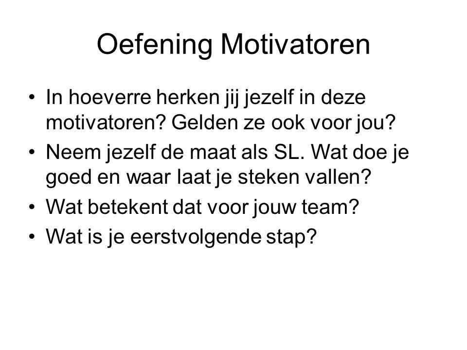 Oefening Motivatoren In hoeverre herken jij jezelf in deze motivatoren? Gelden ze ook voor jou? Neem jezelf de maat als SL. Wat doe je goed en waar la
