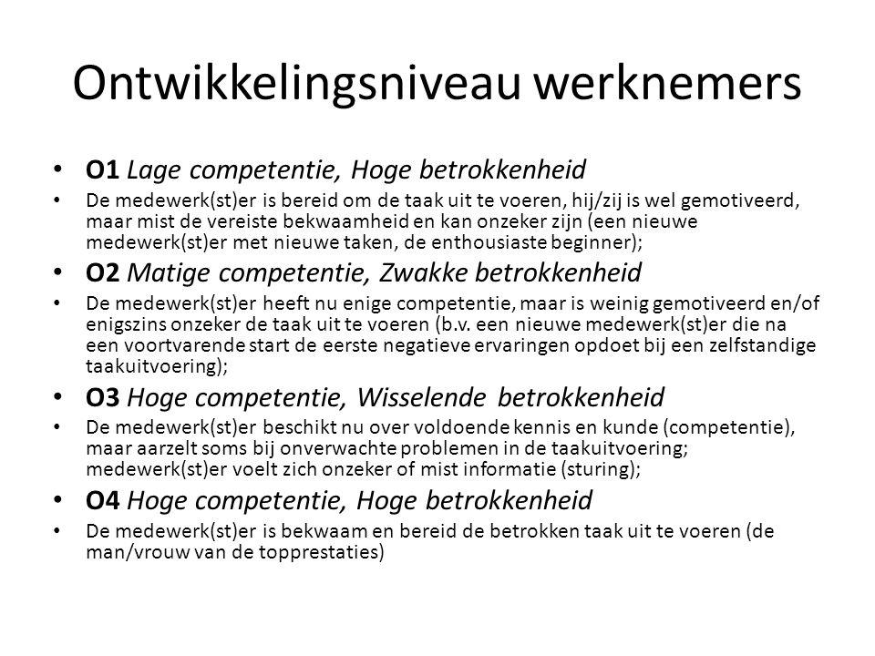 Ontwikkelingsniveau werknemers O1 Lage competentie, Hoge betrokkenheid De medewerk(st)er is bereid om de taak uit te voeren, hij/zij is wel gemotiveer