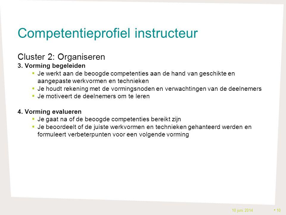 Competentieprofiel instructeur Cluster 2: Organiseren 3. Vorming begeleiden  Je werkt aan de beoogde competenties aan de hand van geschikte en aangep