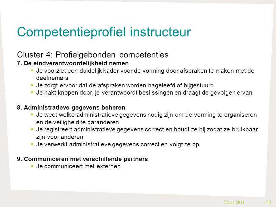 Competentieprofiel instructeur Cluster 4: Profielgebonden competenties 7. De eindverantwoordelijkheid nemen  Je voorziet een duidelijk kader voor de
