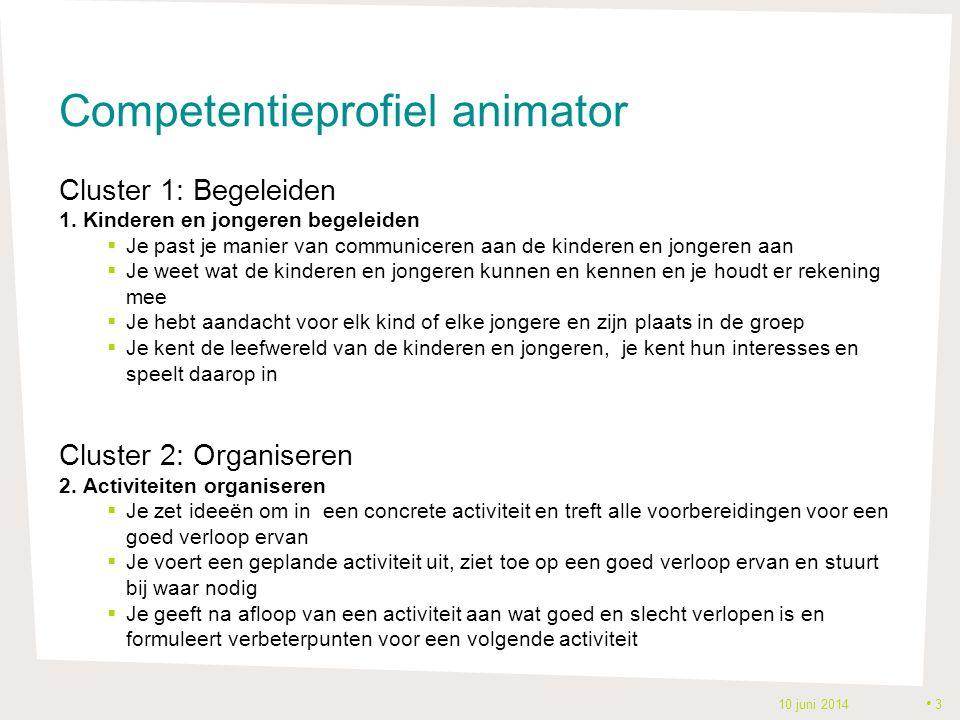 Competentieprofiel animator Cluster 1: Begeleiden 1. Kinderen en jongeren begeleiden  Je past je manier van communiceren aan de kinderen en jongeren