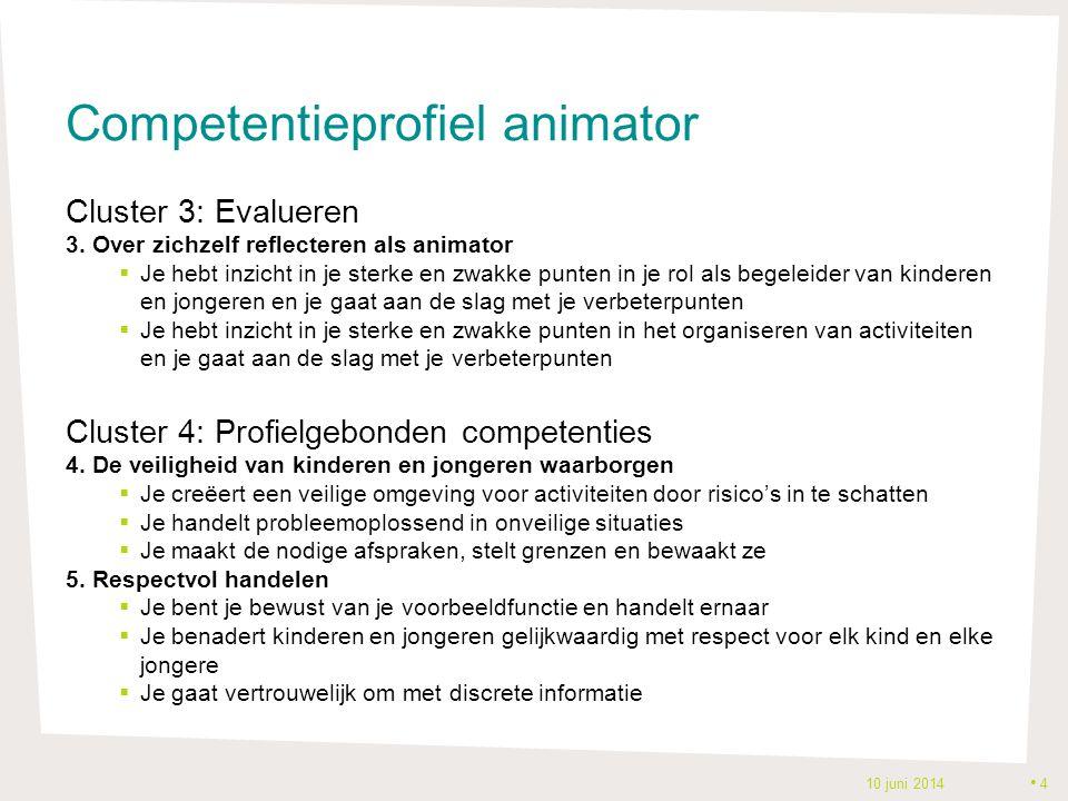 Competentieprofiel animator Cluster 3: Evalueren 3. Over zichzelf reflecteren als animator  Je hebt inzicht in je sterke en zwakke punten in je rol a