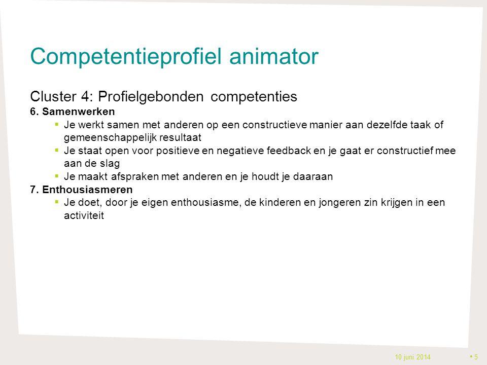 Competentieprofiel animator Cluster 4: Profielgebonden competenties 6. Samenwerken  Je werkt samen met anderen op een constructieve manier aan dezelf