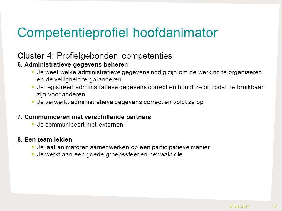 Competentieprofiel hoofdanimator Cluster 4: Profielgebonden competenties 6. Administratieve gegevens beheren  Je weet welke administratieve gegevens