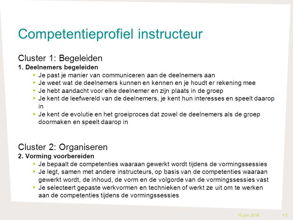 Competentieprofiel instructeur Cluster 1: Begeleiden 1. Deelnemers begeleiden  Je past je manier van communiceren aan de deelnemers aan  Je weet wat