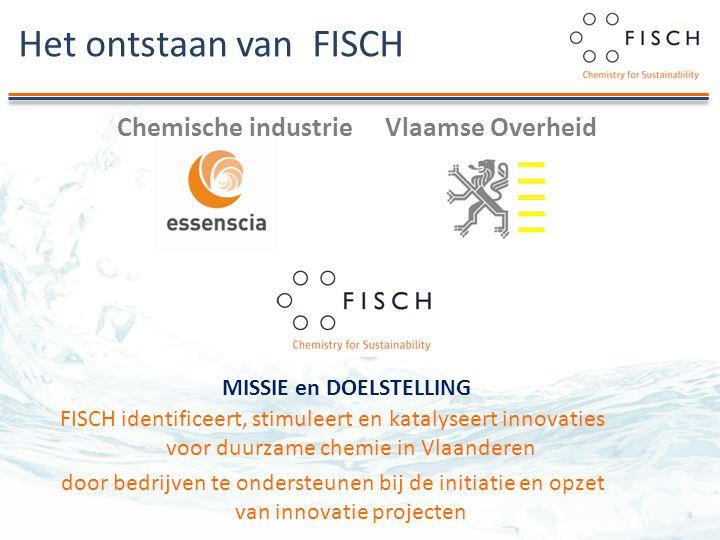 Het ontstaan van FISCH Chemische industrieVlaamse Overheid FISCH identificeert, stimuleert en katalyseert innovaties voor duurzame chemie in Vlaanderen door bedrijven te ondersteunen bij de initiatie en opzet van innovatie projecten MISSIE en DOELSTELLING