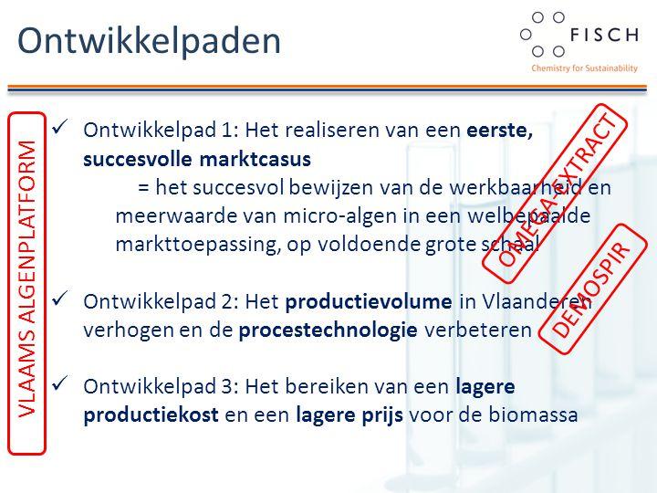 Ontwikkelpaden Ontwikkelpad 1: Het realiseren van een eerste, succesvolle marktcasus = het succesvol bewijzen van de werkbaarheid en meerwaarde van micro-algen in een welbepaalde markttoepassing, op voldoende grote schaal Ontwikkelpad 2: Het productievolume in Vlaanderen verhogen en de procestechnologie verbeteren Ontwikkelpad 3: Het bereiken van een lagere productiekost en een lagere prijs voor de biomassa DEMOSPIR OMEGA-EXTRACT VLAAMS ALGENPLATFORM