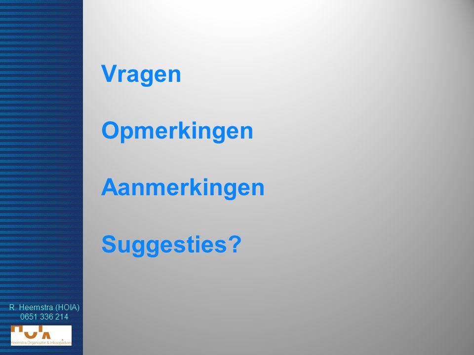R. Heemstra (HOIA) 0651 336 214 Vragen Opmerkingen Aanmerkingen Suggesties?