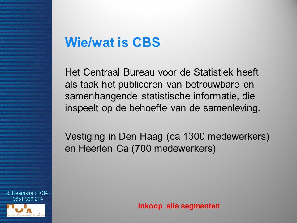 R. Heemstra (HOIA) 0651 336 214 Wie/wat is CBS Het Centraal Bureau voor de Statistiek heeft als taak het publiceren van betrouwbare en samenhangende s