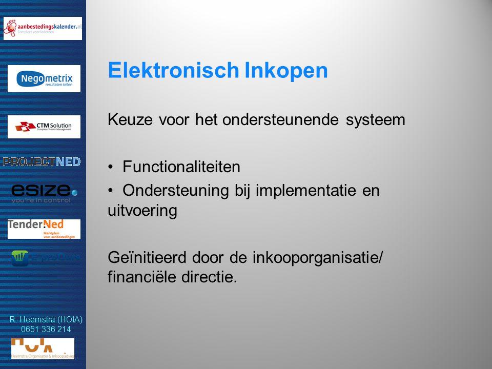 R. Heemstra (HOIA) 0651 336 214 Elektronisch Inkopen Keuze voor het ondersteunende systeem Functionaliteiten Ondersteuning bij implementatie en uitvoe