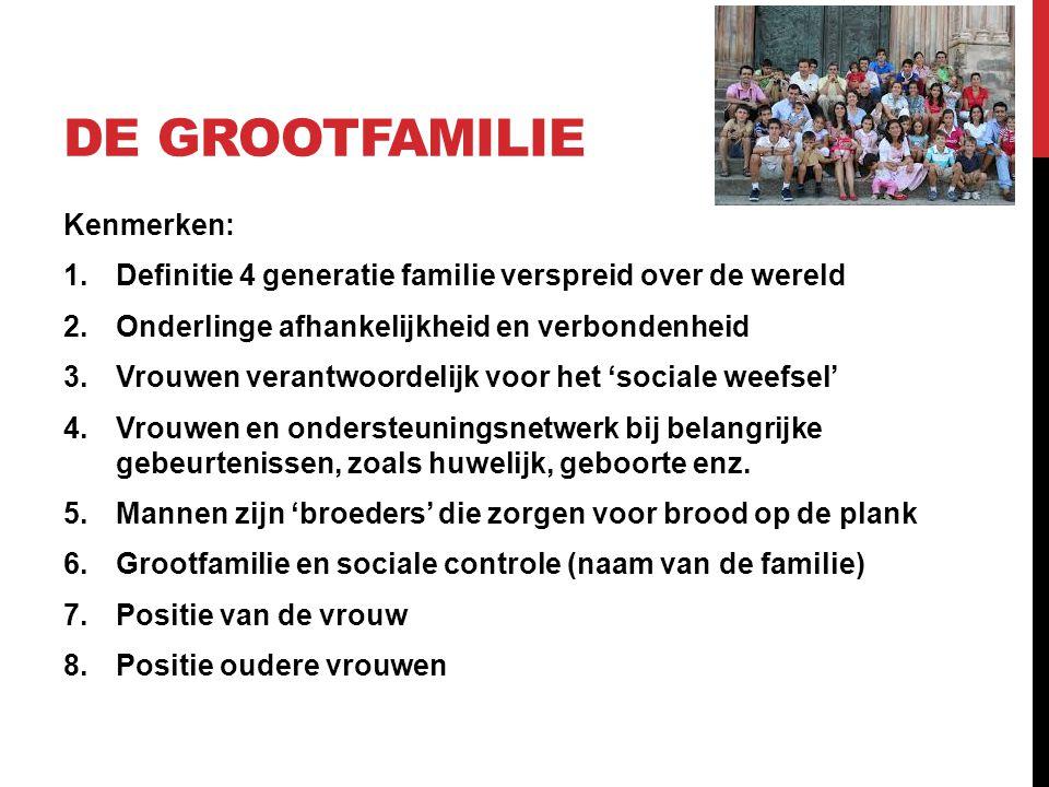 DE GROOTFAMILIE Kenmerken: 1.Definitie 4 generatie familie verspreid over de wereld 2.Onderlinge afhankelijkheid en verbondenheid 3.Vrouwen verantwoor