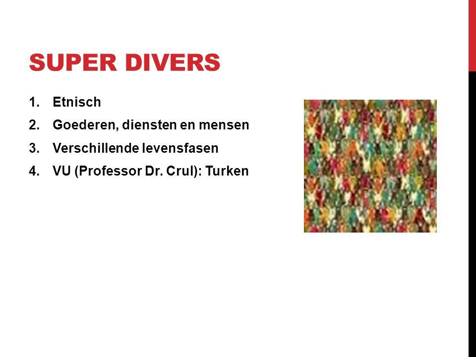 SUPER DIVERS 1.Etnisch 2.Goederen, diensten en mensen 3.Verschillende levensfasen 4.VU (Professor Dr. Crul): Turken