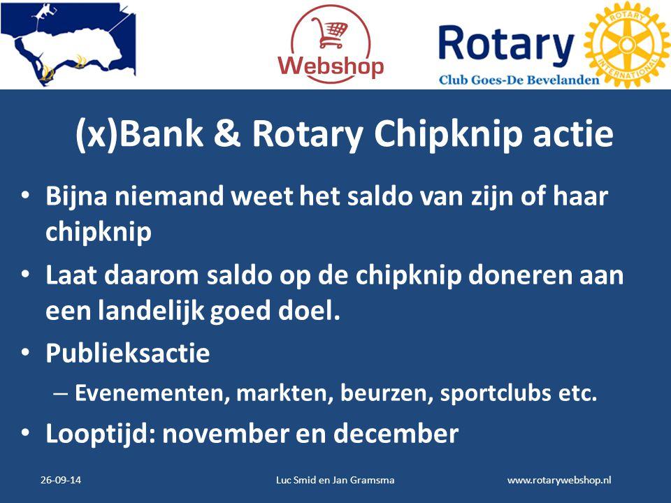 www.rotarywebshop.nl (x)Bank & Rotary Chipknip actie Bijna niemand weet het saldo van zijn of haar chipknip Laat daarom saldo op de chipknip doneren a