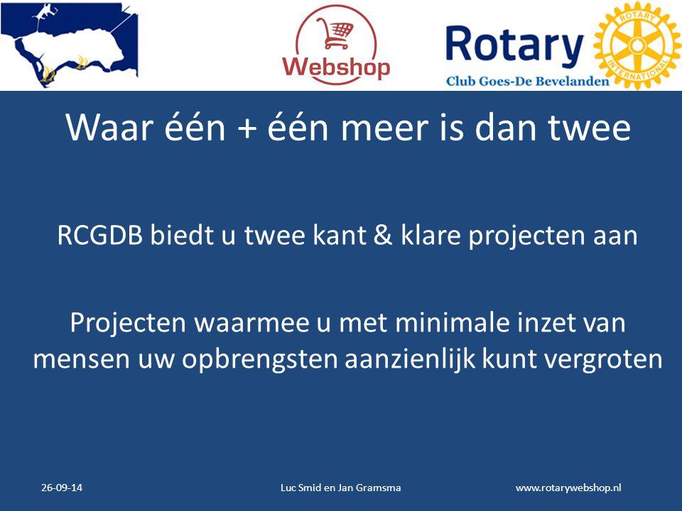 www.rotarywebshop.nl Waar één + één meer is dan twee RCGDB biedt u twee kant & klare projecten aan Projecten waarmee u met minimale inzet van mensen u