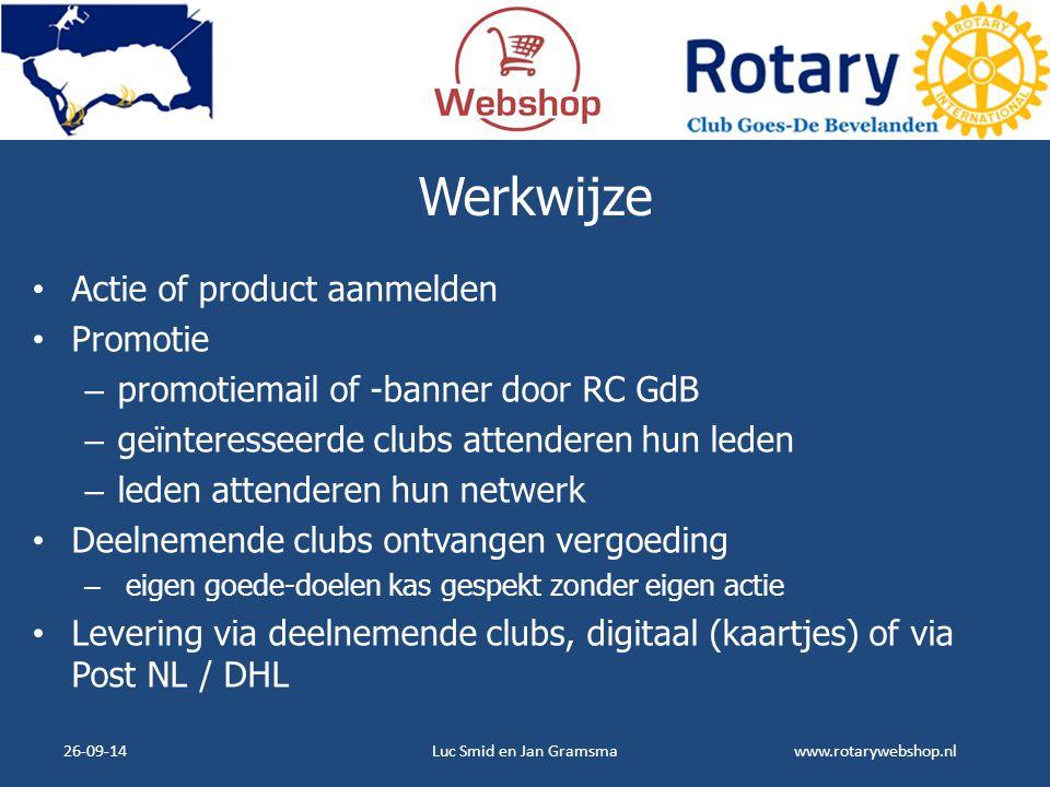www.rotarywebshop.nl Werkwijze Actie of product aanmelden Promotie – promotiemail of -banner door RC GdB – geïnteresseerde clubs attenderen hun leden
