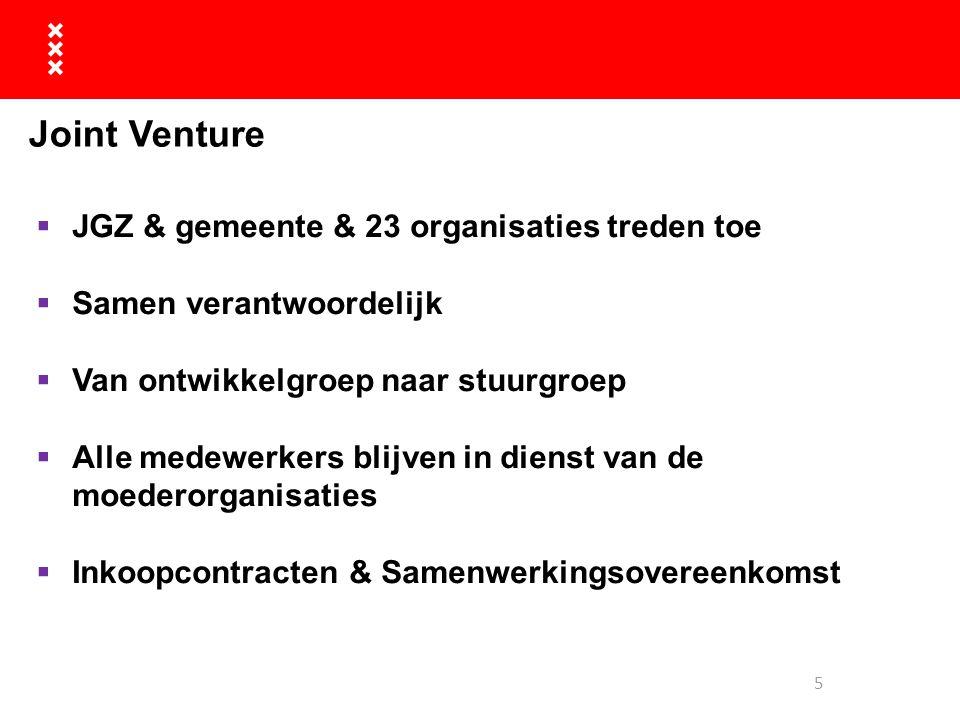 Joint Venture  JGZ & gemeente & 23 organisaties treden toe  Samen verantwoordelijk  Van ontwikkelgroep naar stuurgroep  Alle medewerkers blijven i