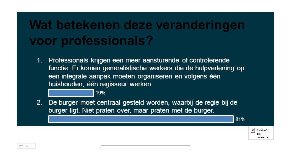 Wat betekenen deze veranderingen voor professionals? 1.Professionals krijgen een meer aansturende of controlerende functie. Er komen generalistische w