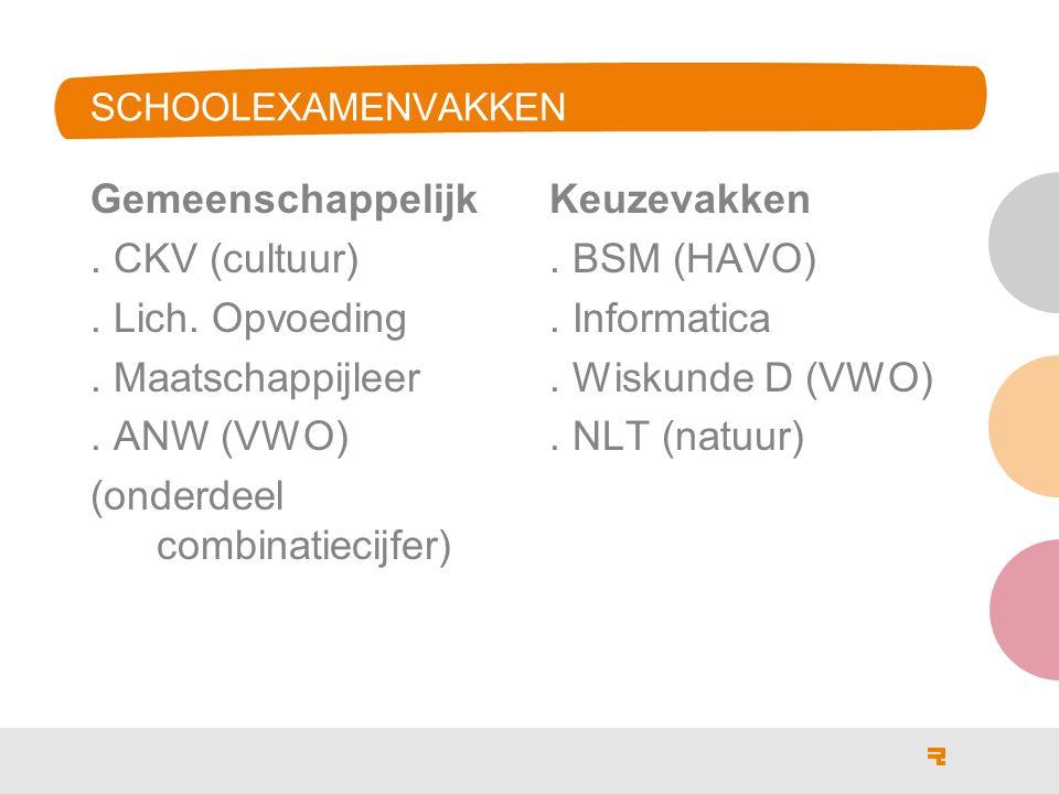 SCHOOLEXAMENVAKKEN Gemeenschappelijk.CKV (cultuur).