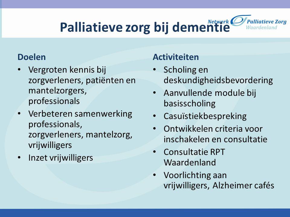 Palliatieve zorg bij dementie Doelen Vergroten kennis bij zorgverleners, patiënten en mantelzorgers, professionals Verbeteren samenwerking professiona