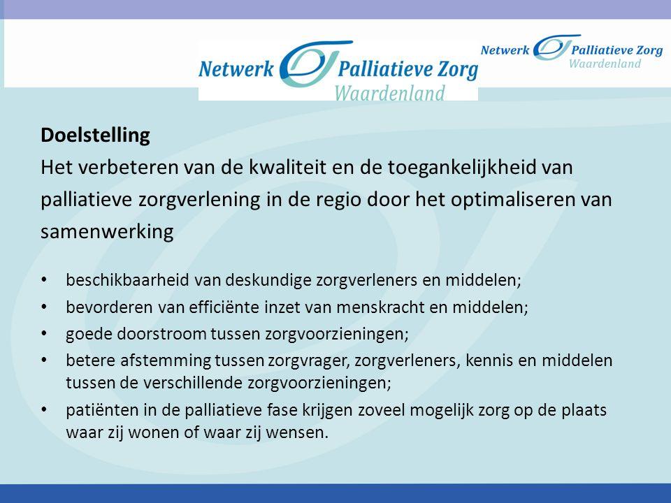 Doelstelling Het verbeteren van de kwaliteit en de toegankelijkheid van palliatieve zorgverlening in de regio door het optimaliseren van samenwerking