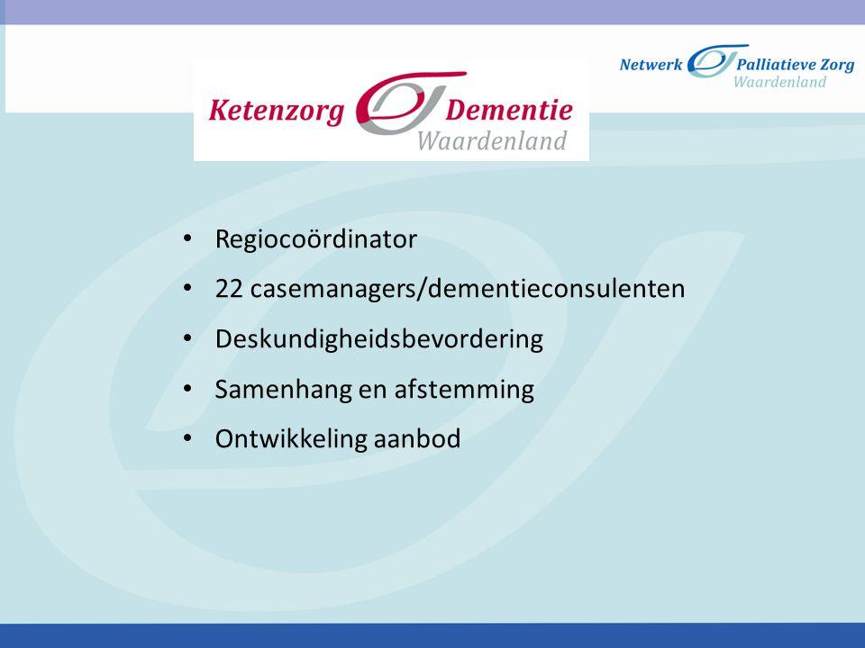 Regiocoördinator 22 casemanagers/dementieconsulenten Deskundigheidsbevordering Samenhang en afstemming Ontwikkeling aanbod