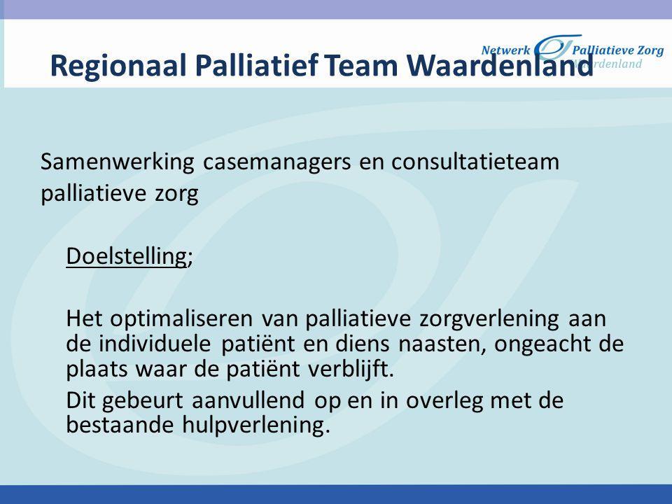 Regionaal Palliatief team Waardenland Onderdeel van het Netwerk Palliatieve zorg (NPZ) Waardenland Onderdeel van het IKNL regio Rotterdam Doelgroep Professionals uit diverse settings: Thuissituatie(huisarts,wijkverpleegkundige) Hospice Verpleeg- en verzorgingstehuizen Ziekenhuizen Cliënt Mantelzorg
