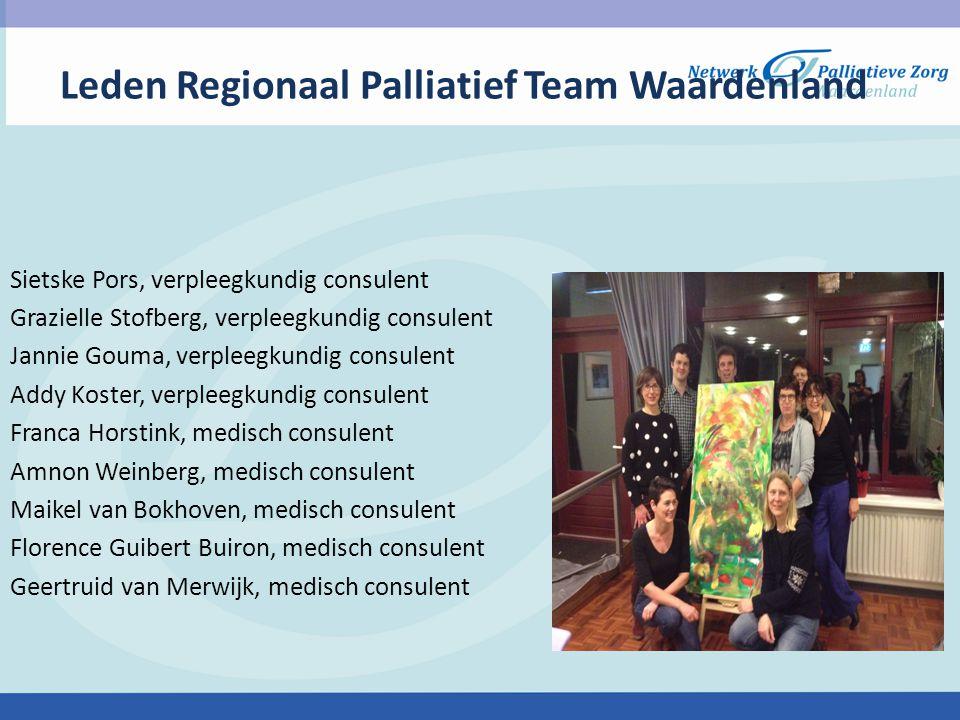 Leden Regionaal Palliatief Team Waardenland Sietske Pors, verpleegkundig consulent Grazielle Stofberg, verpleegkundig consulent Jannie Gouma, verpleeg