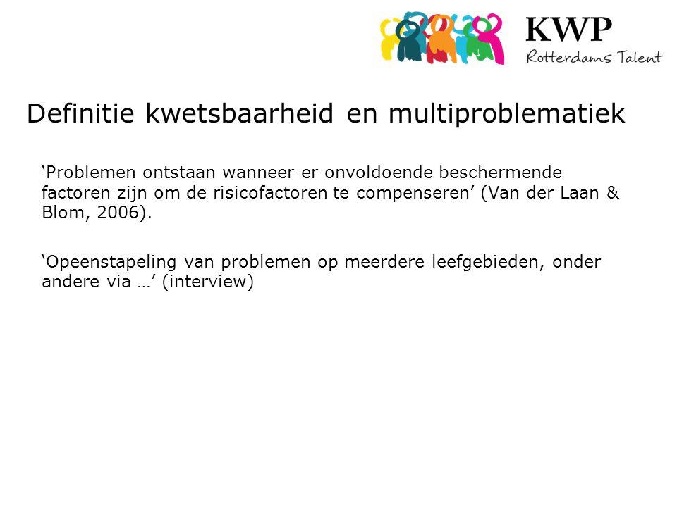 Definitie kwetsbaarheid en multiproblematiek 'Problemen ontstaan wanneer er onvoldoende beschermende factoren zijn om de risicofactoren te compenseren' (Van der Laan & Blom, 2006).