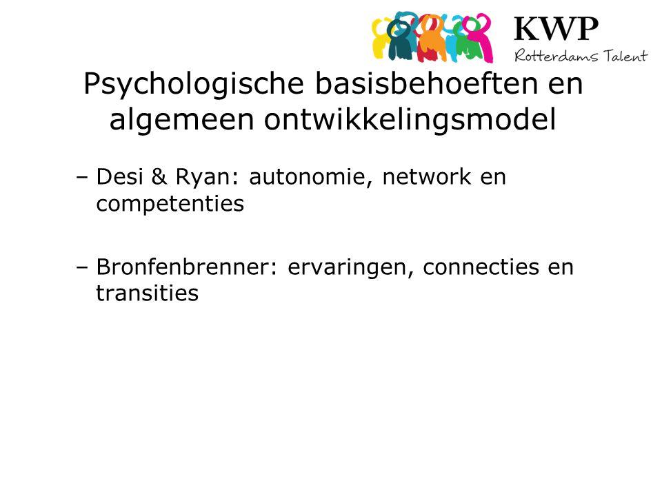 Psychologische basisbehoeften en algemeen ontwikkelingsmodel –Desi & Ryan: autonomie, network en competenties –Bronfenbrenner: ervaringen, connecties en transities