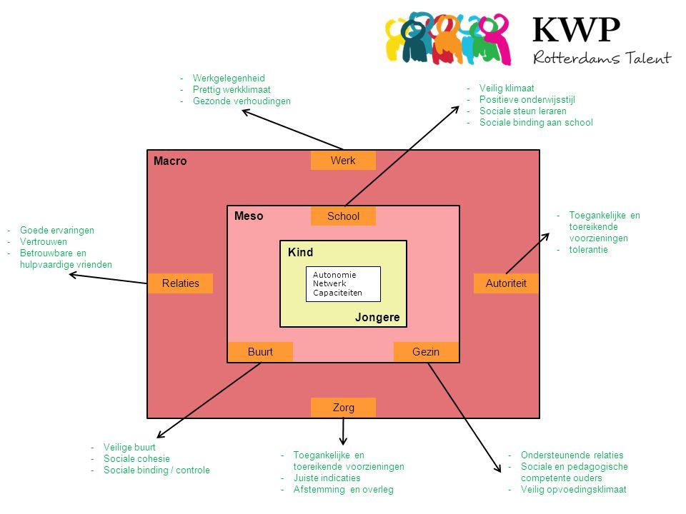 Macro Werk Autoriteit Relaties Zorg Meso School GezinBuurt Kind Jongere Autonomie Netwerk Capaciteiten -Veilig klimaat -Positieve onderwijsstijl -Sociale steun leraren -Sociale binding aan school -Ondersteunende relaties -Sociale en pedagogische competente ouders -Veilig opvoedingsklimaat -Veilige buurt -Sociale cohesie -Sociale binding / controle -Toegankelijke en toereikende voorzieningen -tolerantie -Werkgelegenheid -Prettig werkklimaat -Gezonde verhoudingen -Goede ervaringen -Vertrouwen -Betrouwbare en hulpvaardige vrienden -Toegankelijke en toereikende voorzieningen -Juiste indicaties -Afstemming en overleg