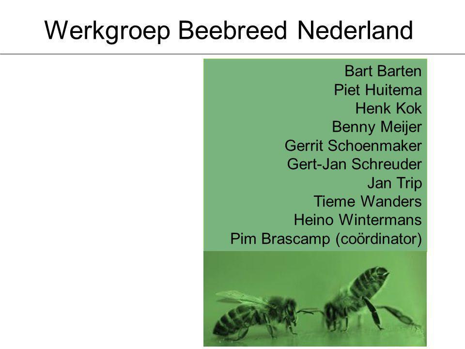 Werkgroep Beebreed Nederland Bart Barten Piet Huitema Henk Kok Benny Meijer Gerrit Schoenmaker Gert-Jan Schreuder Jan Trip Tieme Wanders Heino Wintermans Pim Brascamp (coördinator)