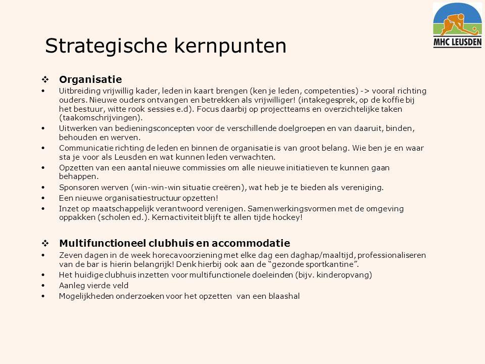 Strategische kernpunten  Organisatie Uitbreiding vrijwillig kader, leden in kaart brengen (ken je leden, competenties) -> vooral richting ouders. Nie