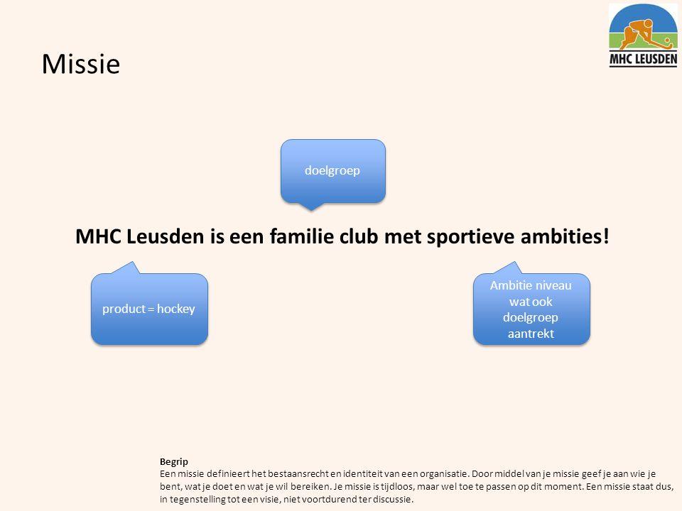 Missie MHC Leusden is een familie club met sportieve ambities! Begrip Een missie definieert het bestaansrecht en identiteit van een organisatie. Door