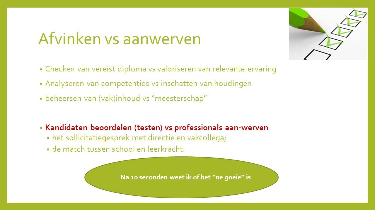 Afvinken vs aanwerven Checken van vereist diploma vs valoriseren van relevante ervaring Analyseren van competenties vs inschatten van houdingen beheer
