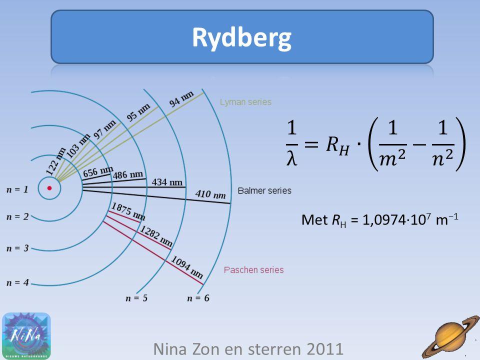 Nina Zon en sterren 2011 Met R H = 1,0974∙10 7 m −1