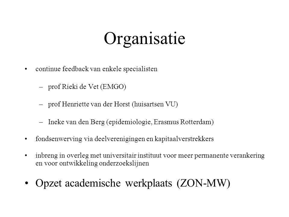 Organisatie continue feedback van enkele specialisten –prof Rieki de Vet (EMGO) –prof Henriette van der Horst (huisartsen VU) –Ineke van den Berg (epidemiologie, Erasmus Rotterdam) fondsenwerving via deelverenigingen en kapitaalverstrekkers inbreng in overleg met universitair instituut voor meer permanente verankering en voor ontwikkeling onderzoekslijnen Opzet academische werkplaats (ZON-MW)