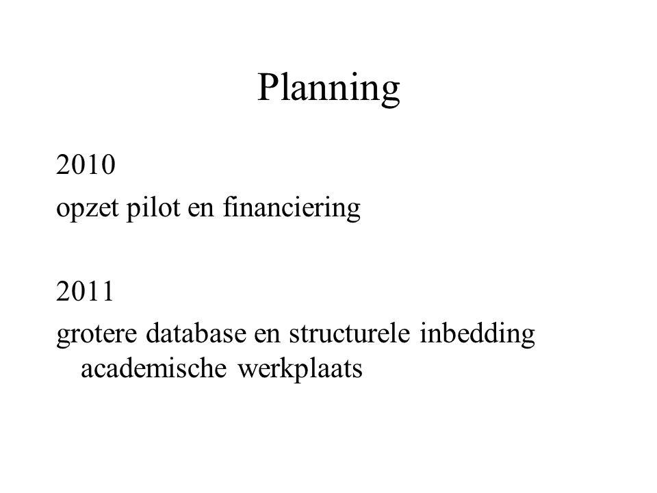 Planning 2010 opzet pilot en financiering 2011 grotere database en structurele inbedding academische werkplaats