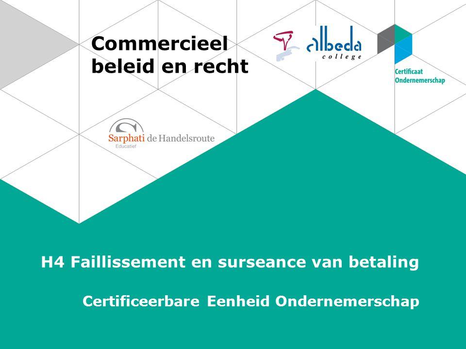 Commercieel beleid en recht H4 Faillissement en surseance van betaling Certificeerbare Eenheid Ondernemerschap