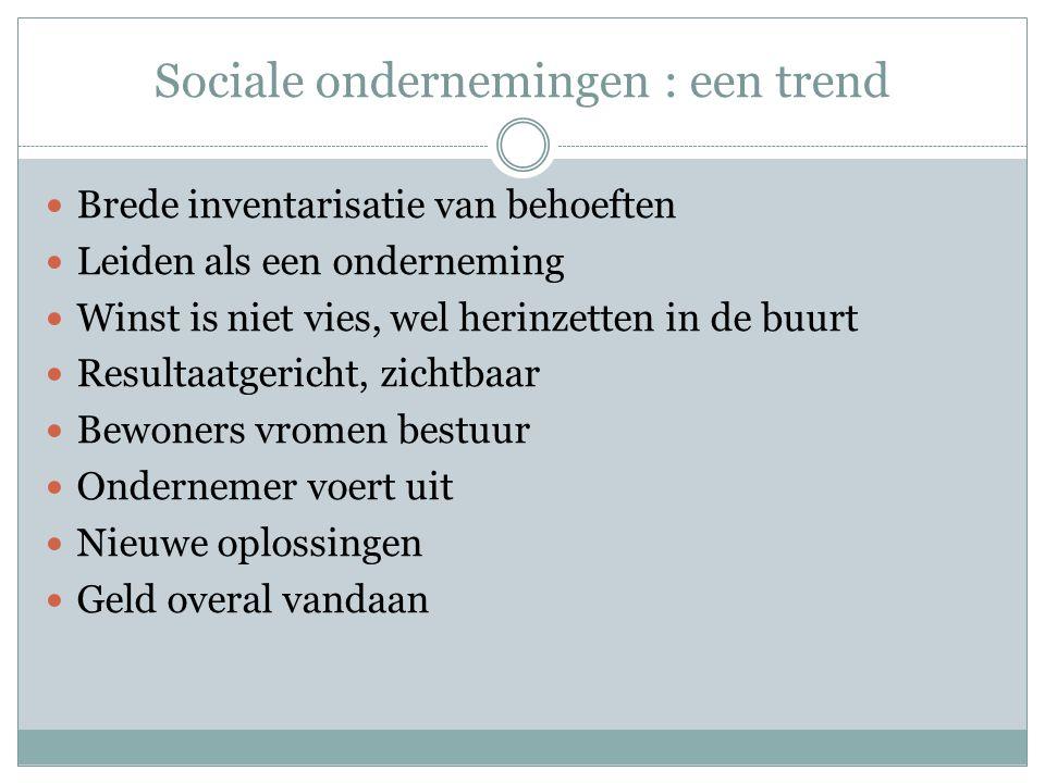 Sociale ondernemingen : een trend Brede inventarisatie van behoeften Leiden als een onderneming Winst is niet vies, wel herinzetten in de buurt Resultaatgericht, zichtbaar Bewoners vromen bestuur Ondernemer voert uit Nieuwe oplossingen Geld overal vandaan