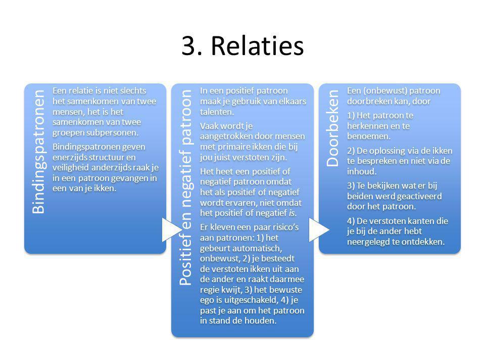 3. Relaties Bindingspatronen Een relatie is niet slechts het samenkomen van twee mensen, het is het samenkomen van twee groepen subpersonen. Bindingsp