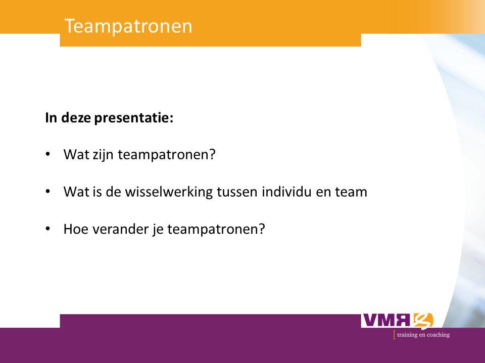 In deze presentatie: Wat zijn teampatronen? Wat is de wisselwerking tussen individu en team Hoe verander je teampatronen? Teampatronen