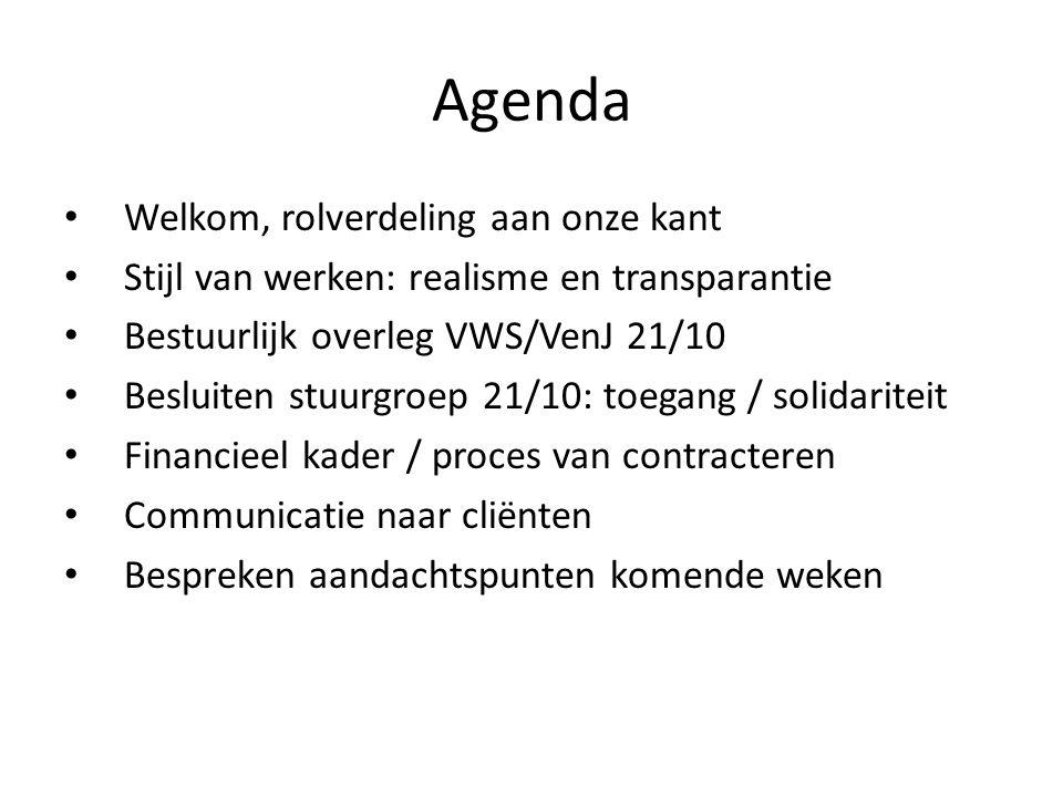 Agenda Welkom, rolverdeling aan onze kant Stijl van werken: realisme en transparantie Bestuurlijk overleg VWS/VenJ 21/10 Besluiten stuurgroep 21/10: toegang / solidariteit Financieel kader / proces van contracteren Communicatie naar cliënten Bespreken aandachtspunten komende weken